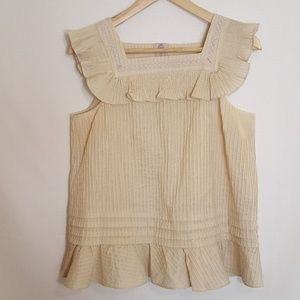 SEE by Chloe size 6 smocked pintucked pleated top